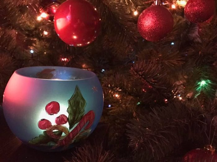 bol sticla Craciun pictat manual cadouri personalizate Crăciun