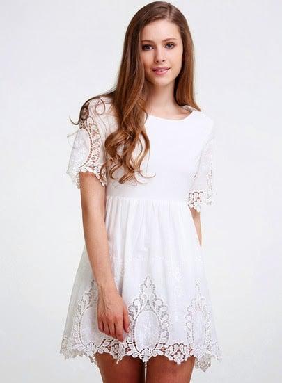 rochie alba dantela