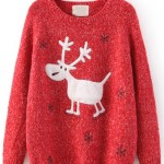 pulover rosu cu ren la reducere