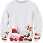 pulover alb cu mos craciun