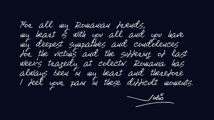 Julio Iglesias - mesaj pentru victimele din Colectiv
