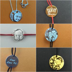 Pe langa medalioanele clasice, pe care se poate grava un text, au aparut si aceste bratari personalizate gravate cu foto