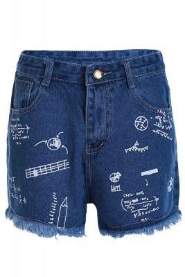 jeansi scurti cu imprimeu