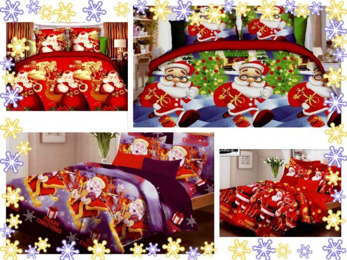 lenjerii de pat cu moș crăciun 1+1 cadou