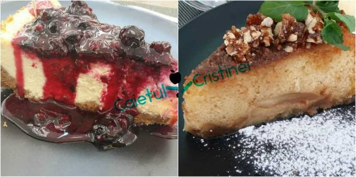 cheesecake si placinta cu mere