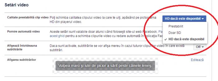 setare HD facebook