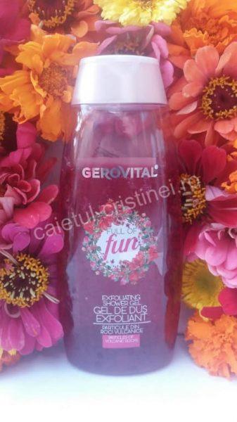 gel de dus Gerovital exfoliant full of fun cu rodie
