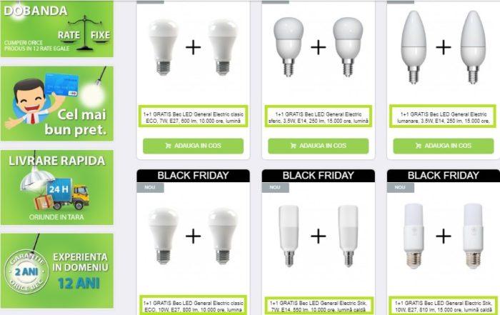 oferte black friday 1+1 gratis la becuri cu LED