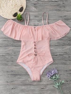 costum de baie roz cu volane