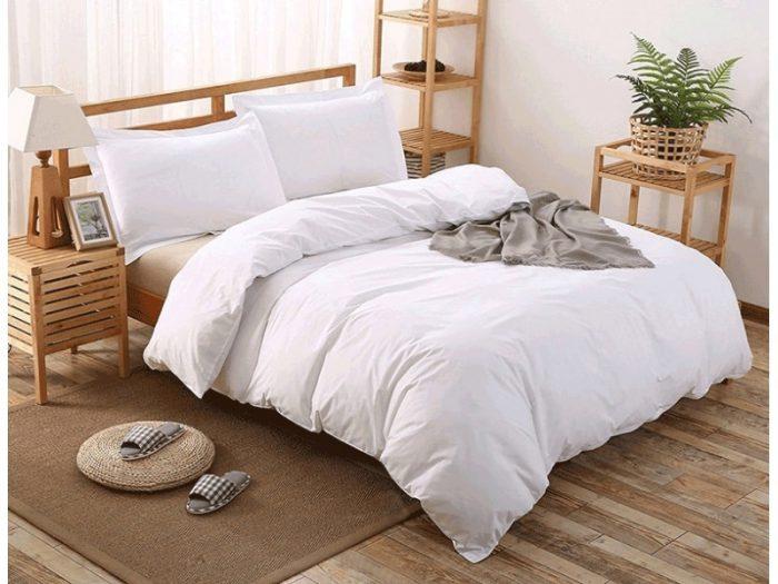 lenjerie de pat albă bumbac