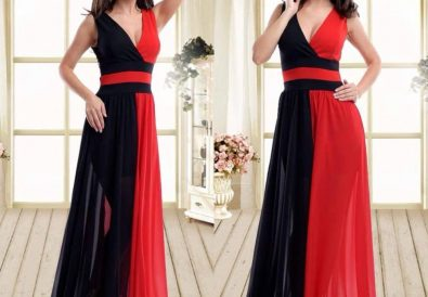 rochie lunga doua culori