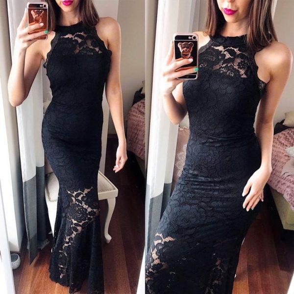 rochie neagra lunga dantela