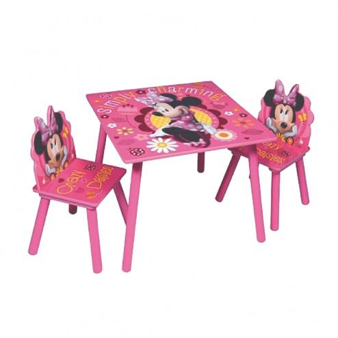 set masa si scaune cu minnie din lemn pentru copii