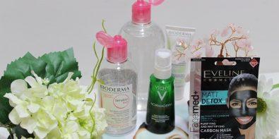 produse antiacnee - Eveline Cosmetics FaceMed+ mască, Vichy Normaderm Phytosolution cremă și Bioderma Sensibio apă micelară