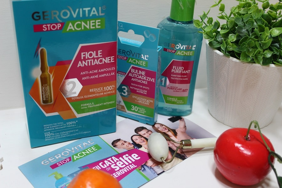 Gerovital Stop Acnee fiole tratament, buline autoadezive și fluid purifiant