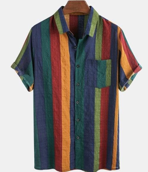 cămașă cu dungi colorate