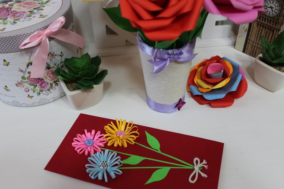 felicitare handmade flori hartie